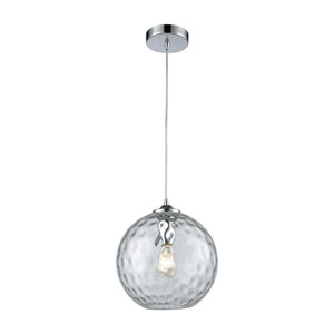 Watersphere Polished Chrome One-Light Pendant with Clear Hammered Glass