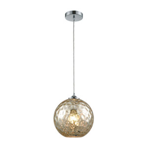 Watersphere Polished Chrome One-Light Pendant with Mercury Hammered Glass