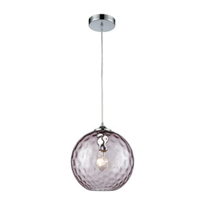 Watersphere Polished Chrome One-Light Pendant with Purple Hammered Glass