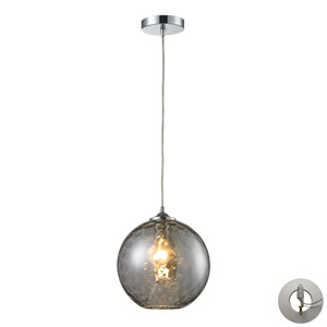 Watersphere Polished Chrome One-Light Pendant with Smoke Glass and Adapter Kit