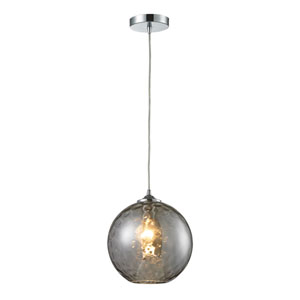 Watersphere Polished Chrome One-Light Pendant with Smoke Glass