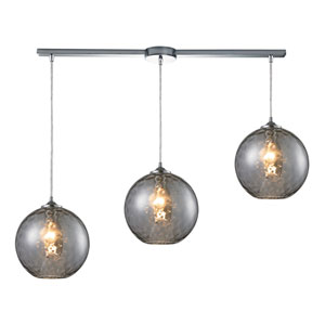 Watersphere Polished Chrome Three-Light Ascending Pendant with Smoke Glass