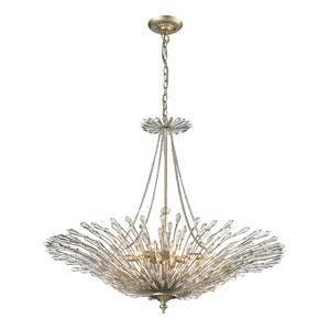 Viva Aged Silver Eight Light Pendant