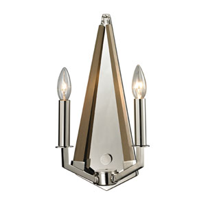 Madera Polished Nickel Two Light Wall Sconce