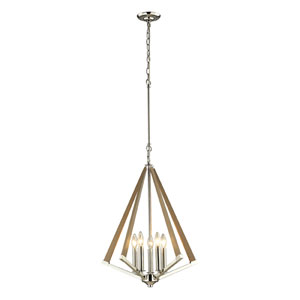 Madera Polished Nickel Five Light Pendant