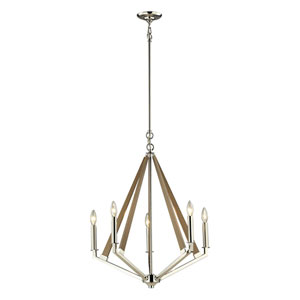 Madera Polished Nickel Five Light Chandelier