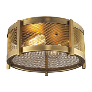Rialto Aged Brass Two Light Flush Mount Fixture