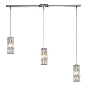 Cynthia Polished Chrome 36-Inch Three Light Chandelier