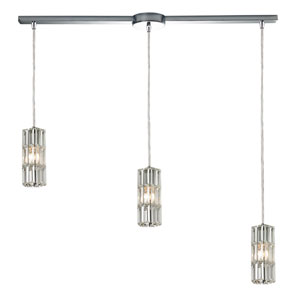 Cynthia Polished Chrome 8-Inch Three Light Chandelier with L Shade