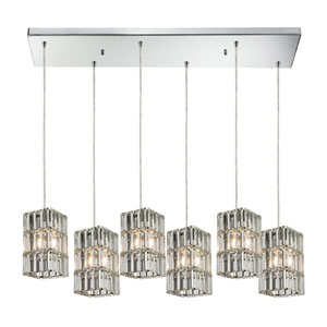 Cynthia Polished Chrome Six Light Chandelier with RC Shade