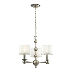 Meridian Polished Nickel and Matte Nickel Three Light Chandelier