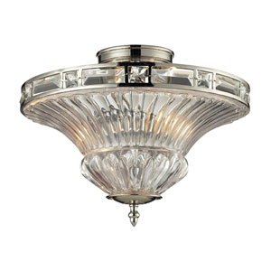 Aubree Polished Nickel Two Light Semi-Flush Mount Fixture