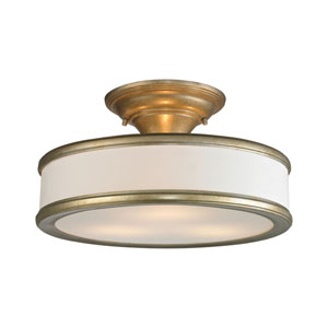 Clarkton Aged Silver Three-Light Semi Flush Mount