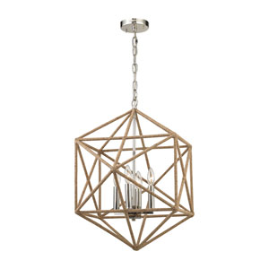 Exitor Polished Nickel 23-Inch Four-Light Chandelier