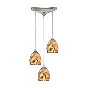 Niche Satin Nickel 13-Inch Three-Light Pendant with Gold Plated