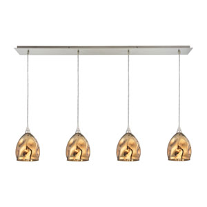 Niche Satin Nickel 46-Inch Four-Light Pendant with Gold Plated