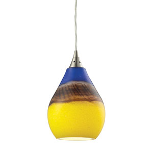 Dunes Satin Nickel One-Light Mini Pendant with Sunscape Glass