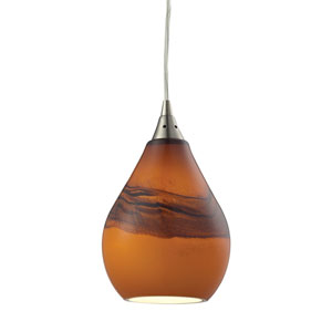 Dunes Satin Nickel One-Light Mini Pendant with Shadow Glass