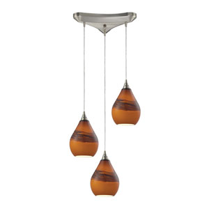 Dunes Satin Nickel Three-Light Pendant with Shadow Glass