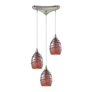 Vines Satin Nickel Three-Light Pendant with Rhubarb Glass