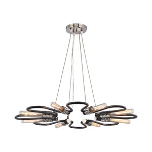Continuum Silvered Graphite and Polished Nickel 31-Inch Eight-Light Chandelier