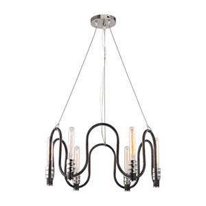 Continuum Silvered Graphite and Polished Nickel 24-Inch Six-Light Chandelier
