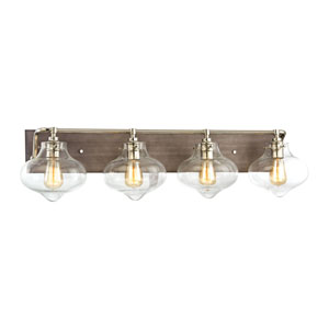 Kelsey Weathered Zinc and Polished Nickel 37-Inch Four-Light Vanity