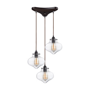 Kelsey Oil Rubbed Bronze 17-Inch Three-Light Pendant with Clear Glass Shades
