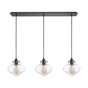 Kelsey Oil Rubbed Bronze 36-Inch Three-Light Pendant with Clear Glass Shades