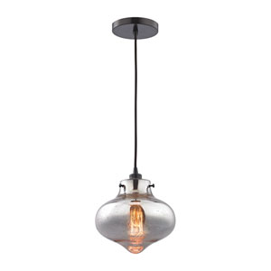 Kelsey Oil Rubbed Bronze 8-Inch One-Light Mini Pendant with Mercury Glass Shade