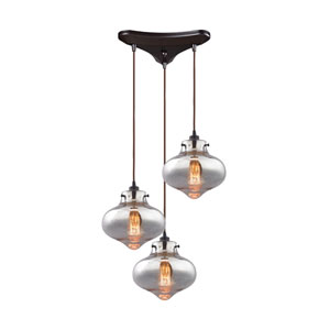Kelsey Oil Rubbed Bronze 17-Inch Three-Light Pendant with Mercury Glass Shades