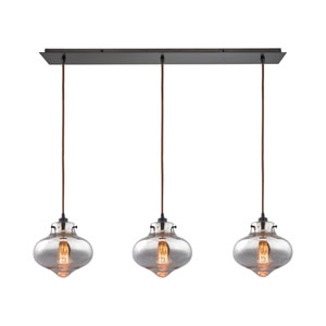 Kelsey Oil Rubbed Bronze 36-Inch Three-Light Pendant with Mercury Glass Shades