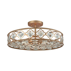 Armand Matte Gold Eight-Light Semi-Flush Mount