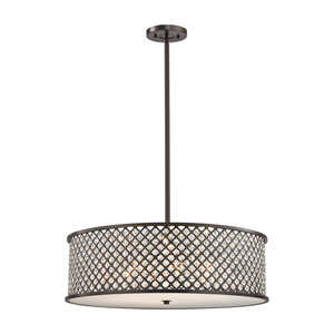 Genevieve Oil Rubbed Bronze 29-Inch Six-Light Pendant