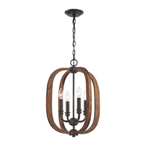 Wood Arches Oil Rubbed Bronze and Red Oak 16-Inch Four-Light Chandelier