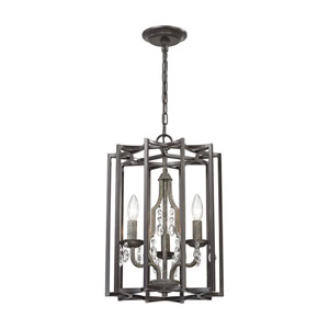 Belgique Oil Rubbed Bronze and Malted Rust 13-Inch Three-Light Chandelier