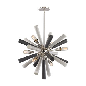 Solara Polished Nickel and Grey Washed Woodtone 28-Inch Six-Light Chandelier