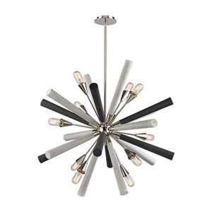 Solara Polished Nickel and Grey Washed Woodtone 37-Inch 10-Light Chandelier