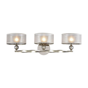 Corisande Polished Nickel Three-Light Vanity