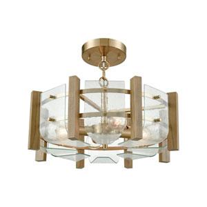 Vindalia Satin Brass Four-Light Semi-Flush Mount
