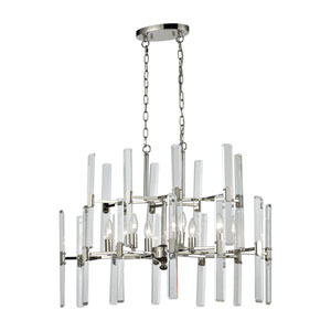 Crystal Heights Polished Nickel 30-Inch Six-Light Chandelier