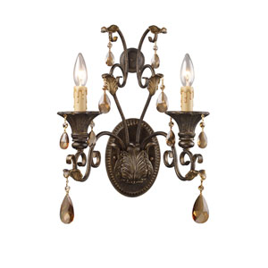 Rochelle Weathered Mahogany Ironwork Two-Light Wall Sconce