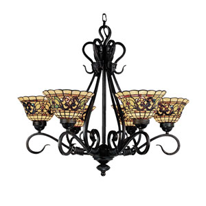 Tiffany Buckingham Vintage Antique Six Light Chandelier