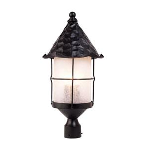Rustica Matte Black Three Light Outdoor Post Light