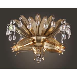 Naples Antique Silver Leaf Flush Mount Ceiling Light