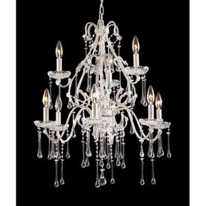 Opulence Antique White Clear Crystal Nine-Light Chandelier