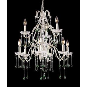 Opulence Antique White Lime Crystal Nine-Light Chandelier