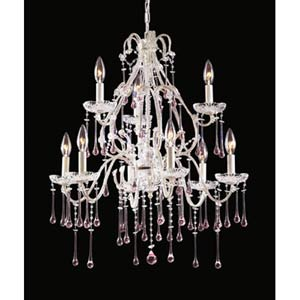 Opulence Antique White Rose Crystal Nine-Light Chandelier