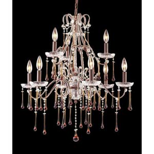 Opulence Rust Amber Crystal Nine-Light Chandelier