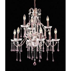 Opulence Rust Rose Crystal Nine-Light Chandelier